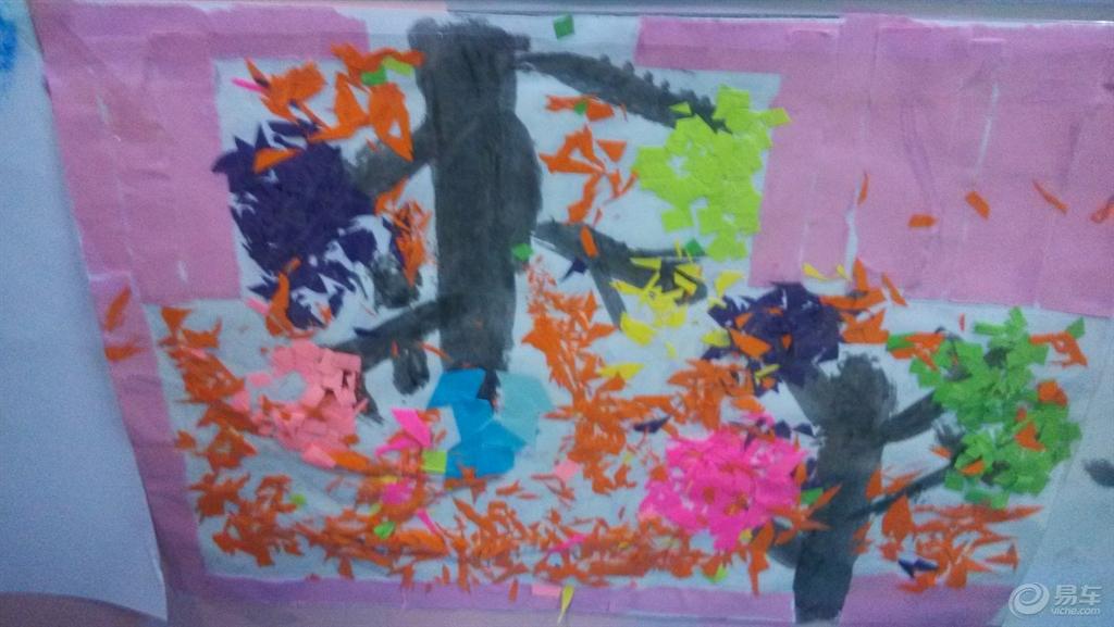 叶子   花瓶   涂色画   蜡笔画   配 而且有的孩子还是挺有自己的想法