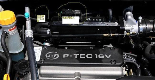 7汽油蒸汽抽吸电磁阀在发动机舱那里高清图片