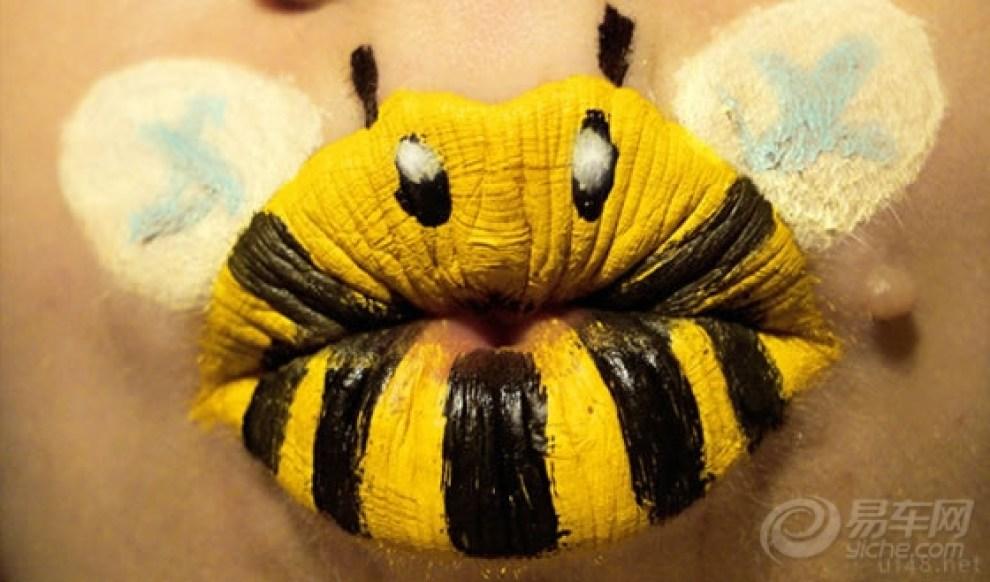 嘴唇上的创意动物