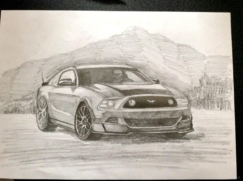【【手绘dreamcar】铅笔素描之福特野马】_画汽车社区
