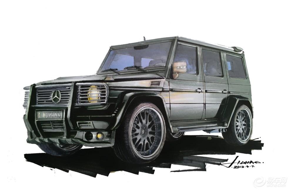 【转】马克笔画了张汽车手绘图